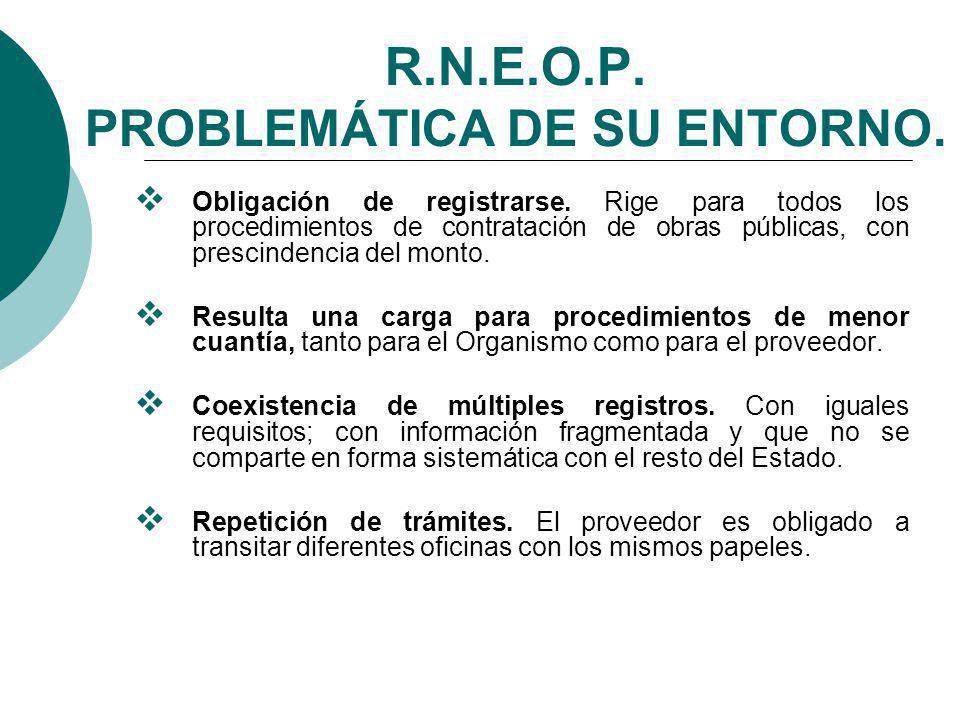 R.N.E.O.P. PROBLEMÁTICA DE SU ENTORNO.