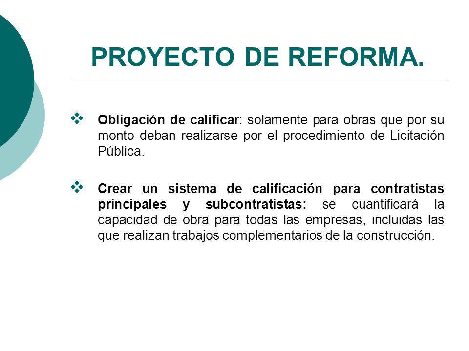 PROYECTO DE REFORMA. Obligación de calificar: solamente para obras que por su monto deban realizarse por el procedimiento de Licitación Pública.