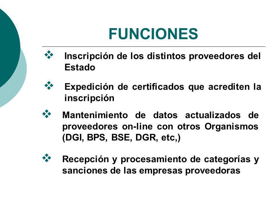 FUNCIONES Inscripción de los distintos proveedores del Estado