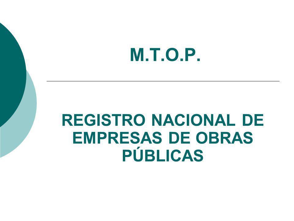REGISTRO NACIONAL DE EMPRESAS DE OBRAS PÚBLICAS