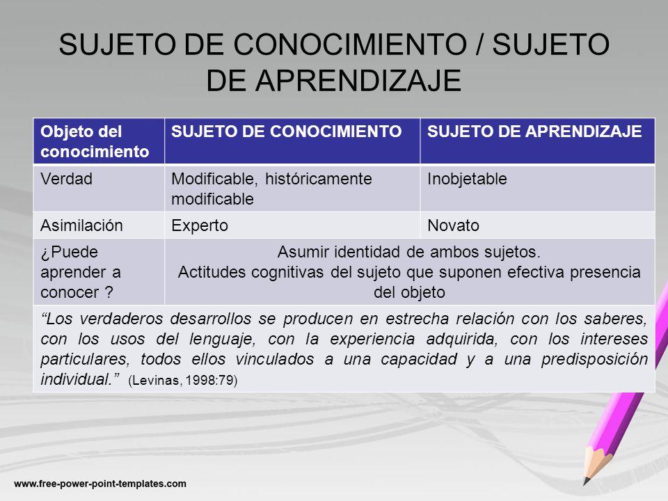 SUJETO DE CONOCIMIENTO / SUJETO DE APRENDIZAJE