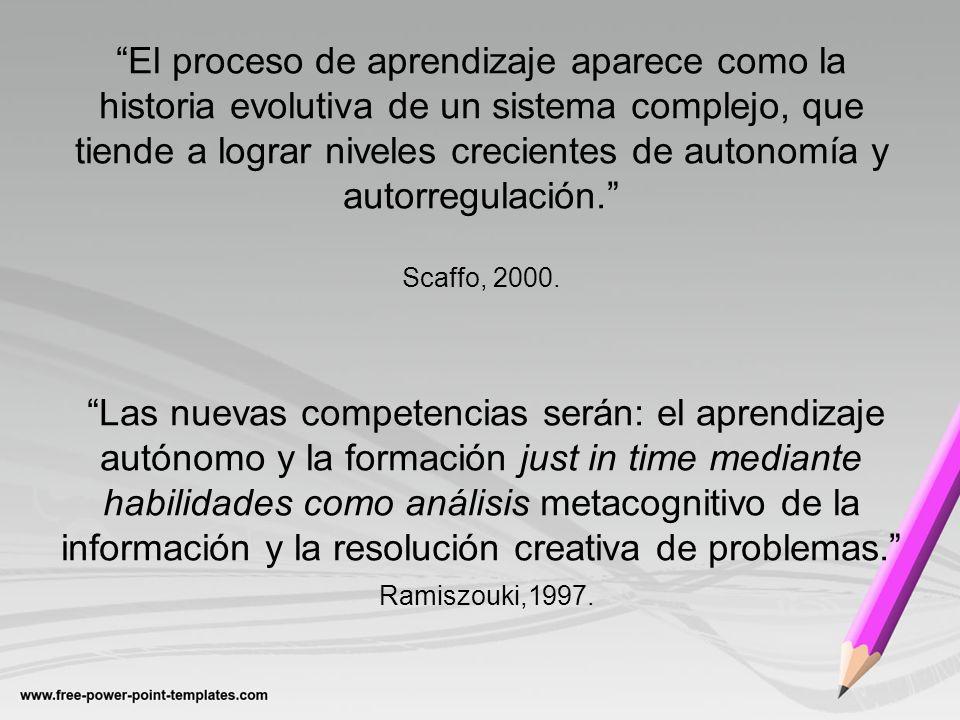 El proceso de aprendizaje aparece como la historia evolutiva de un sistema complejo, que tiende a lograr niveles crecientes de autonomía y autorregulación. Scaffo, 2000.