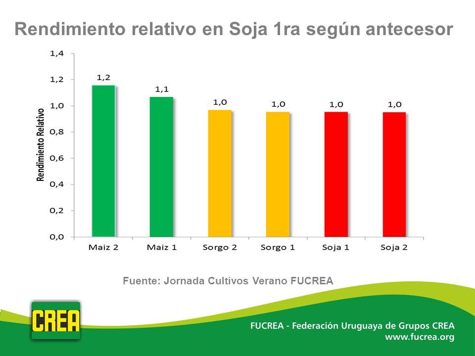 Rendimiento relativo en Soja 1ra según antecesor