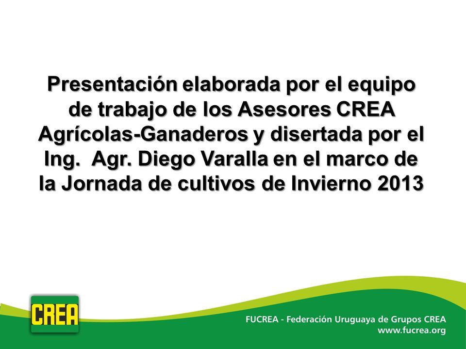 Presentación elaborada por el equipo de trabajo de los Asesores CREA Agrícolas-Ganaderos y disertada por el Ing.