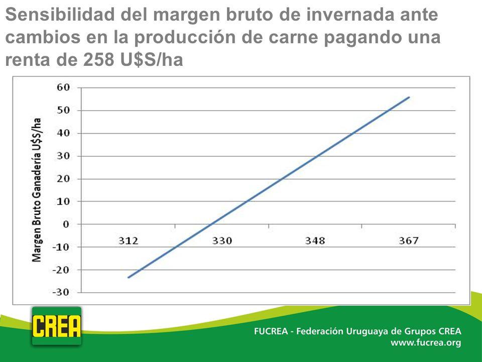 Sensibilidad del margen bruto de invernada ante cambios en la producción de carne pagando una renta de 258 U$S/ha
