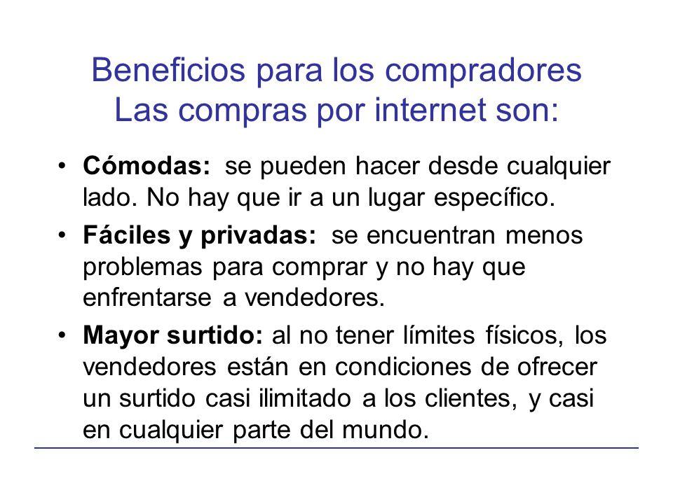 Beneficios para los compradores Las compras por internet son: