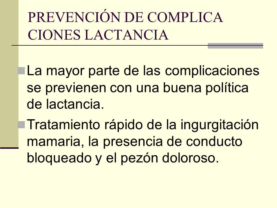 PREVENCIÓN DE COMPLICA CIONES LACTANCIA