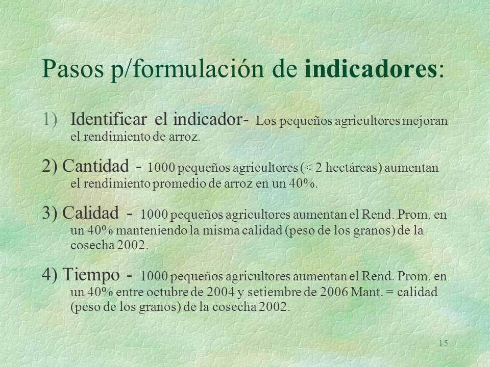 Pasos p/formulación de indicadores: