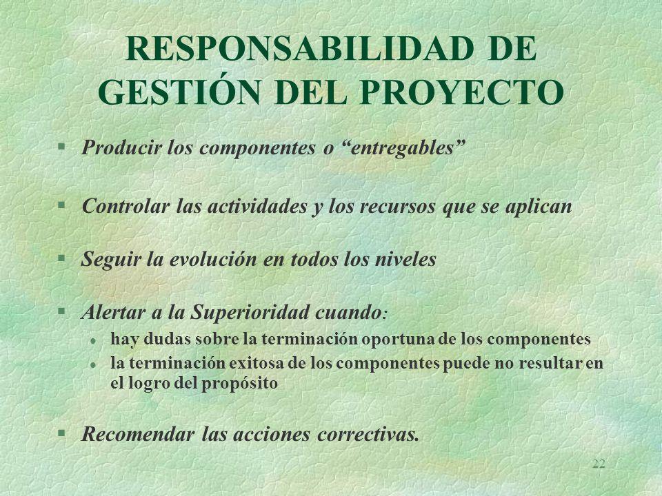 RESPONSABILIDAD DE GESTIÓN DEL PROYECTO