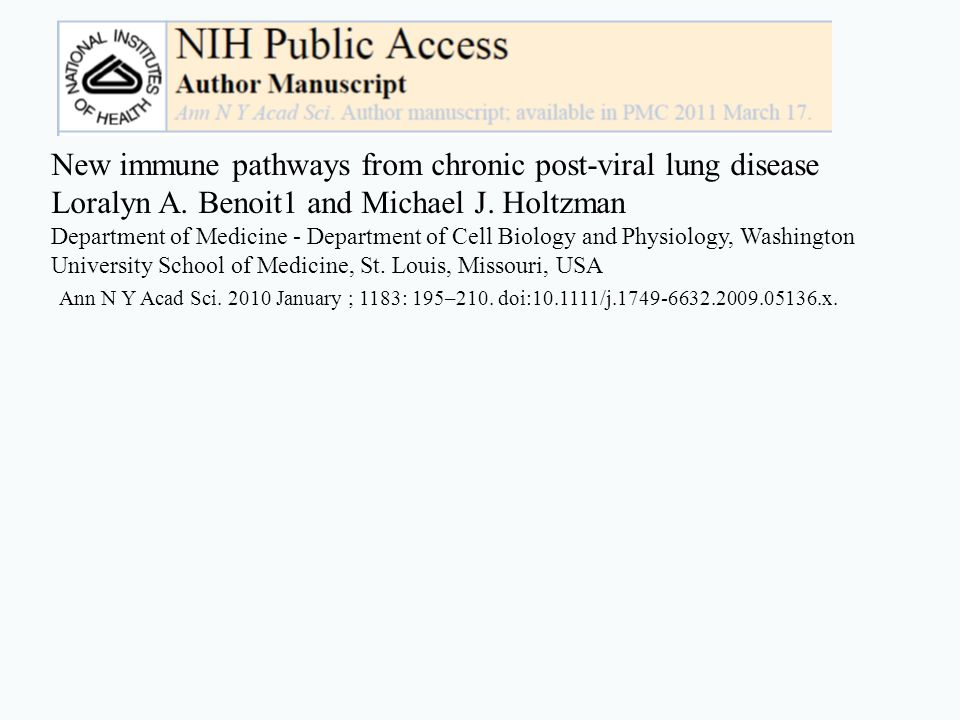 New immune pathways from chronic post-viral lung disease