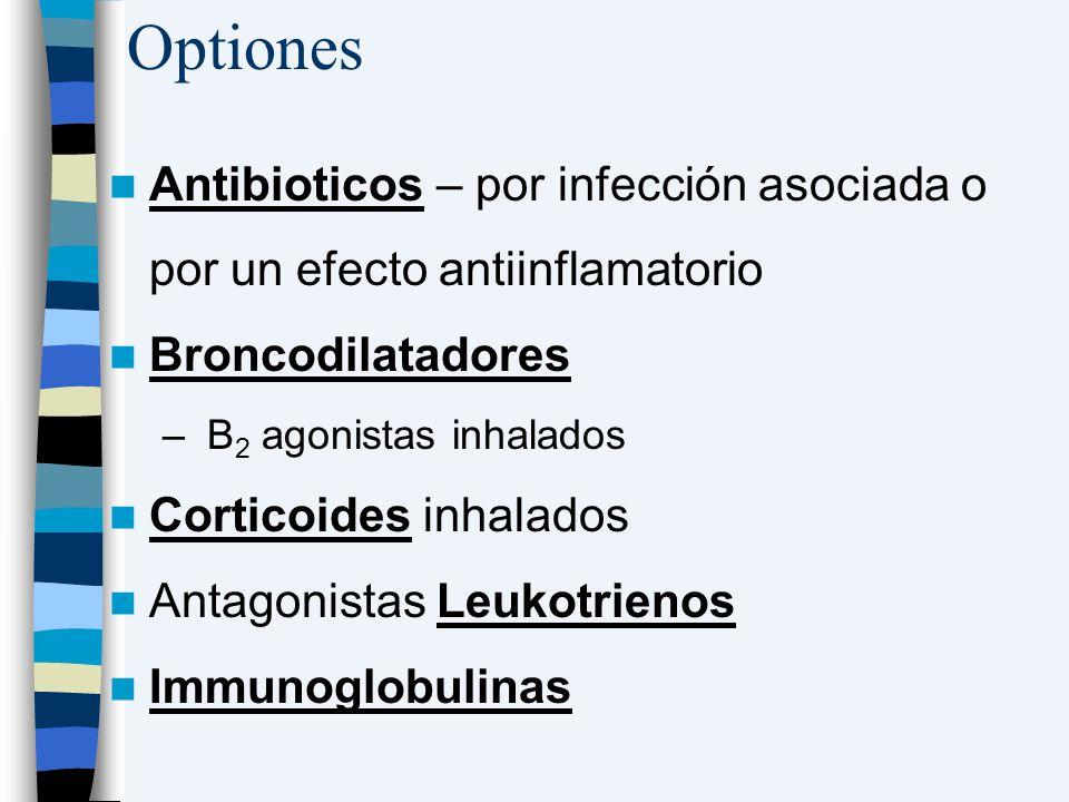 Optiones Antibioticos – por infección asociada o por un efecto antiinflamatorio. Broncodilatadores.