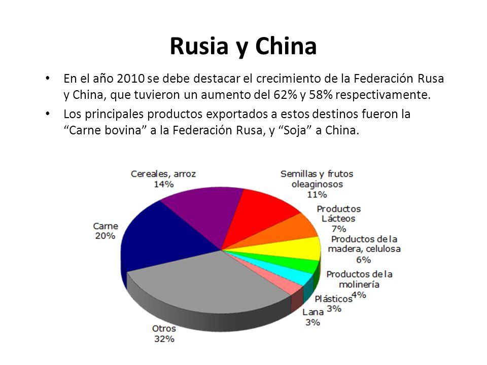 Rusia y China En el año 2010 se debe destacar el crecimiento de la Federación Rusa y China, que tuvieron un aumento del 62% y 58% respectivamente.