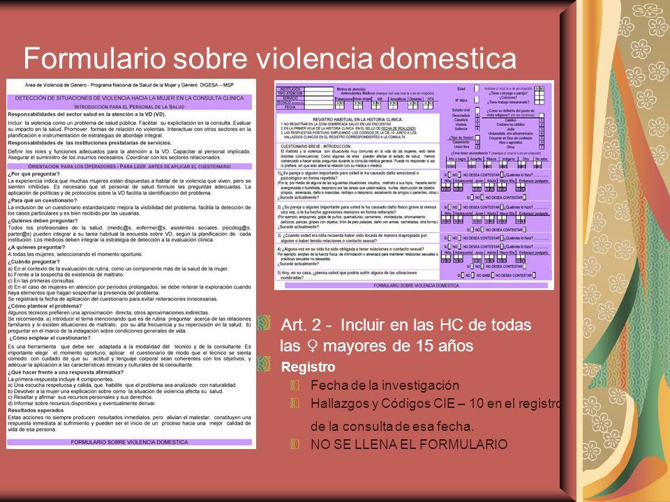 Formulario sobre violencia domestica
