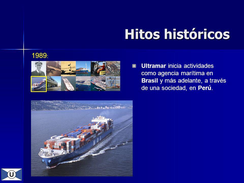 Hitos históricos 1989: Ultramar inicia actividades como agencia marítima en Brasil y más adelante, a través de una sociedad, en Perú.