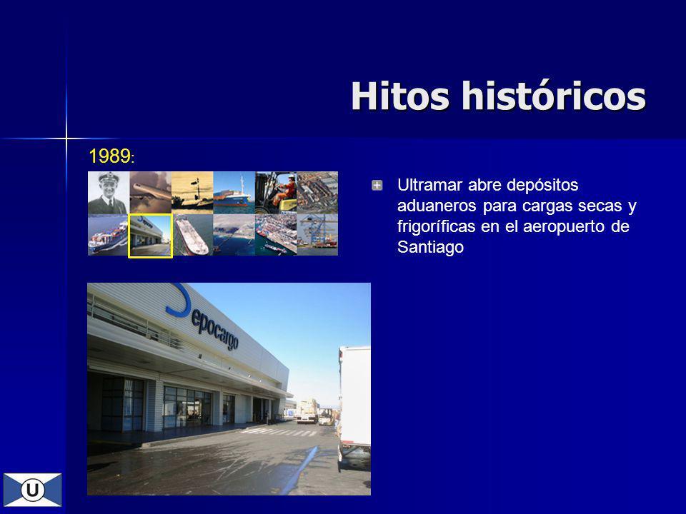 Hitos históricos 1989: Ultramar abre depósitos aduaneros para cargas secas y frigoríficas en el aeropuerto de Santiago.