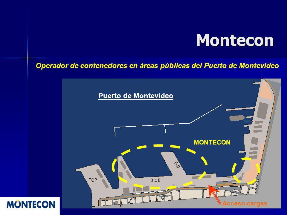 Montecon Operador de contenedores en áreas públicas del Puerto de Montevideo. Puerto de Montevideo.