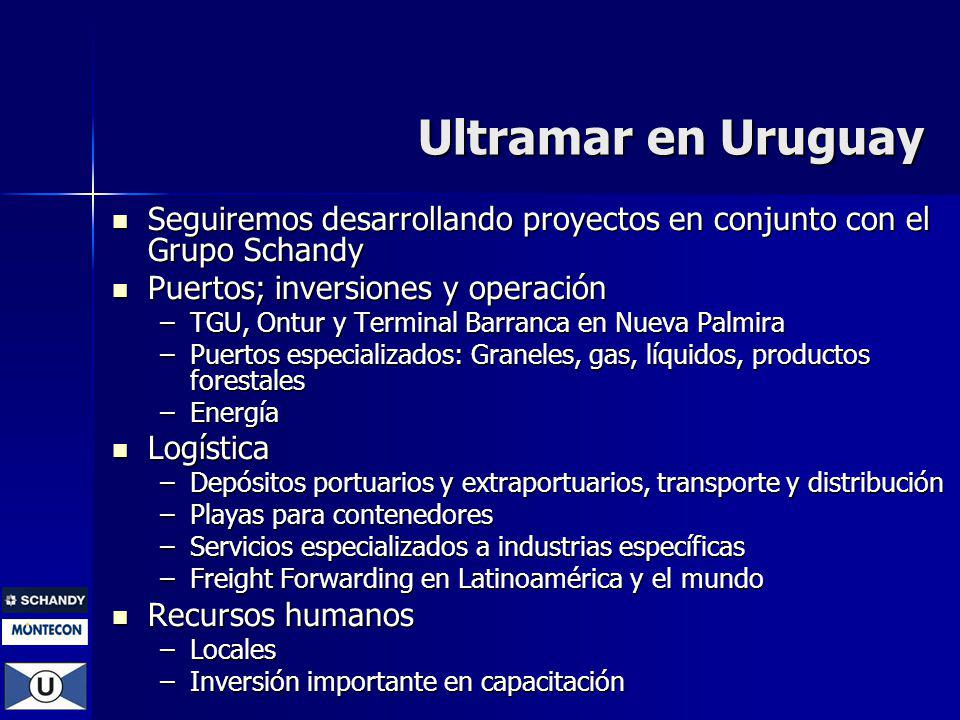 Ultramar en Uruguay Seguiremos desarrollando proyectos en conjunto con el Grupo Schandy. Puertos; inversiones y operación.
