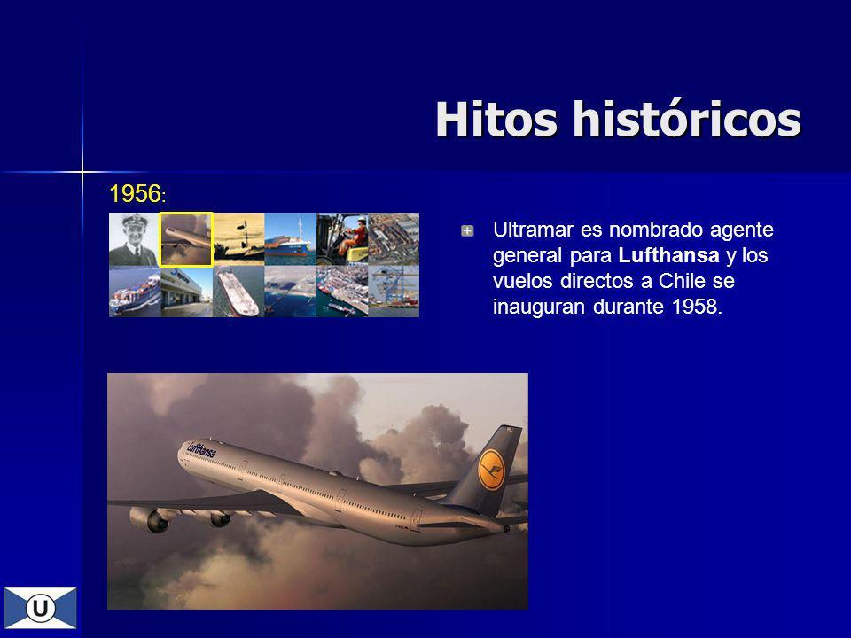 Hitos históricos 1956: Ultramar es nombrado agente general para Lufthansa y los vuelos directos a Chile se inauguran durante 1958.