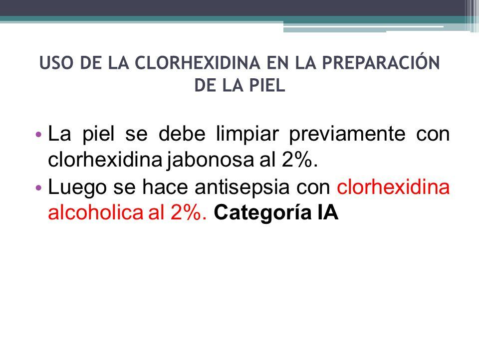 USO DE LA CLORHEXIDINA EN LA PREPARACIÓN DE LA PIEL