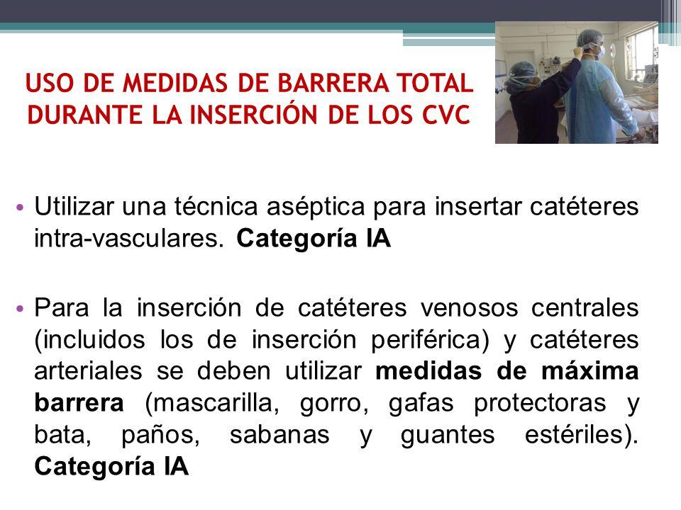 USO DE MEDIDAS DE BARRERA TOTAL DURANTE LA INSERCIÓN DE LOS CVC
