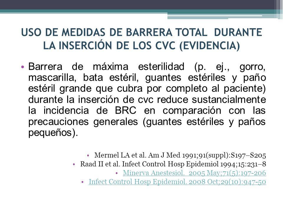 USO DE MEDIDAS DE BARRERA TOTAL DURANTE LA INSERCIÓN DE LOS CVC (EVIDENCIA)
