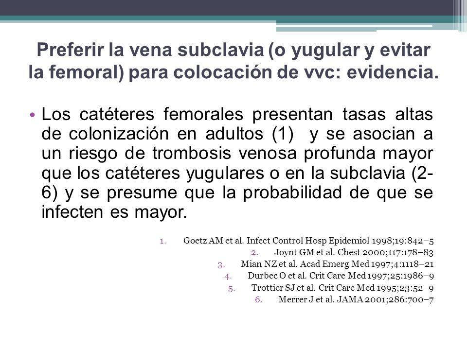 Preferir la vena subclavia (o yugular y evitar la femoral) para colocación de vvc: evidencia.