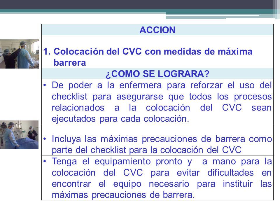 ACCION Colocación del CVC con medidas de máxima barrera. ¿COMO SE LOGRARA