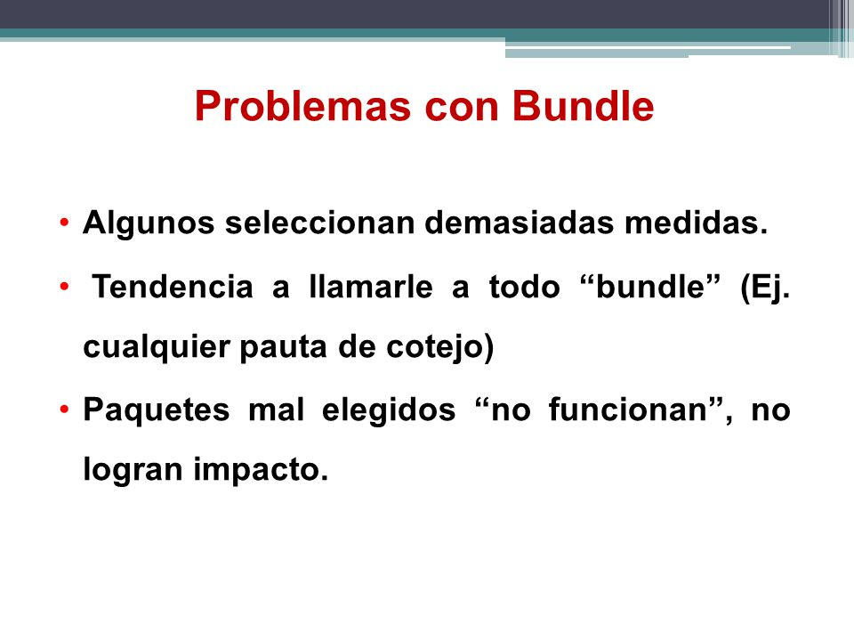 Problemas con Bundle Algunos seleccionan demasiadas medidas.