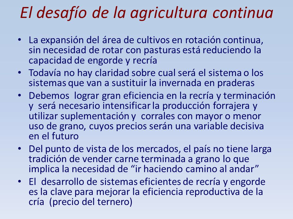 El desafío de la agricultura continua