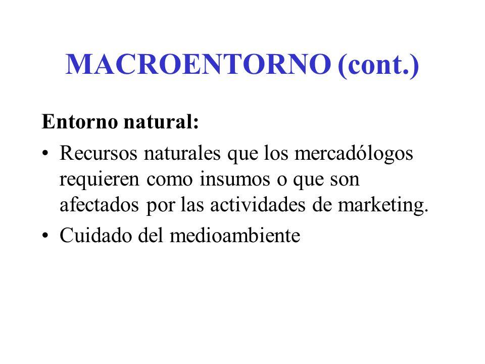 MACROENTORNO (cont.) Entorno natural:
