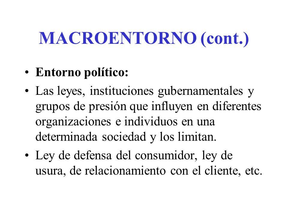 MACROENTORNO (cont.) Entorno político: