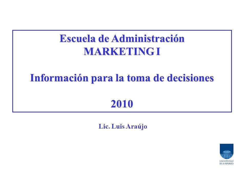 Escuela de Administración Información para la toma de decisiones
