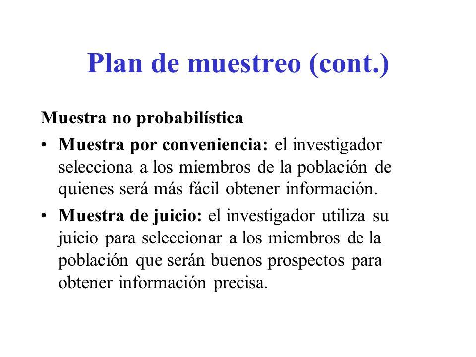Plan de muestreo (cont.)