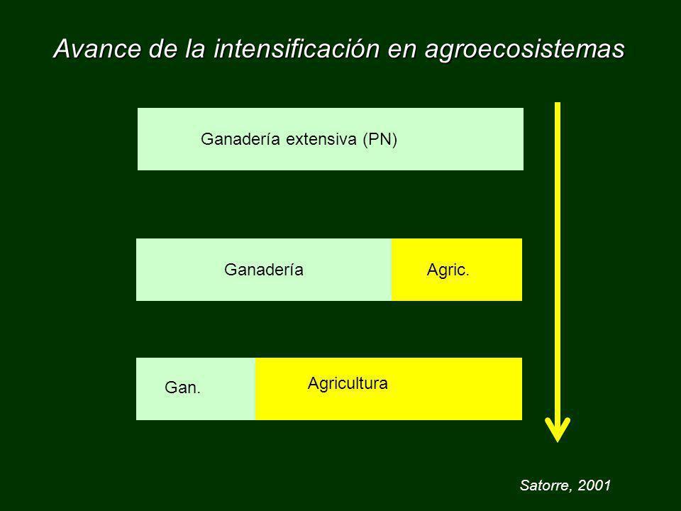 Avance de la intensificación en agroecosistemas