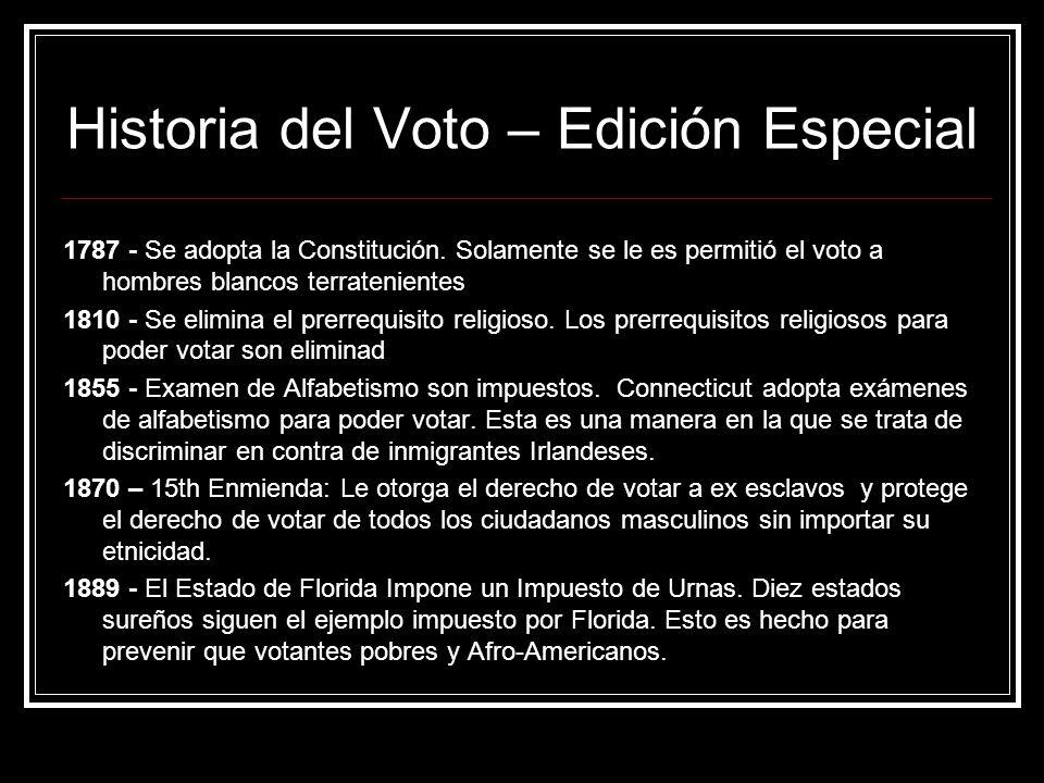 Historia del Voto – Edición Especial