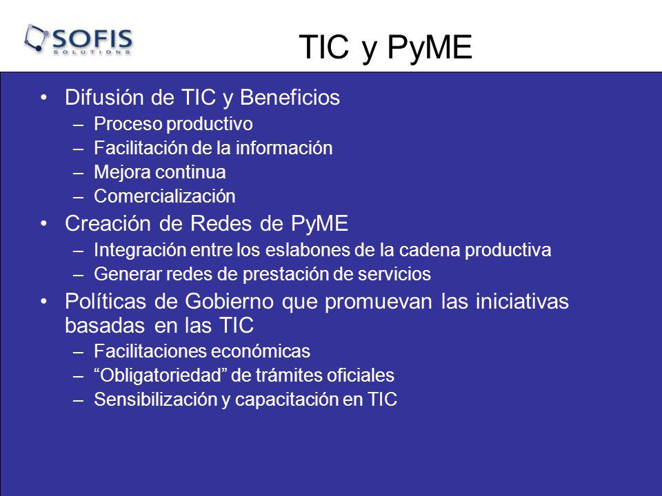 TIC y PyME Difusión de TIC y Beneficios Creación de Redes de PyME