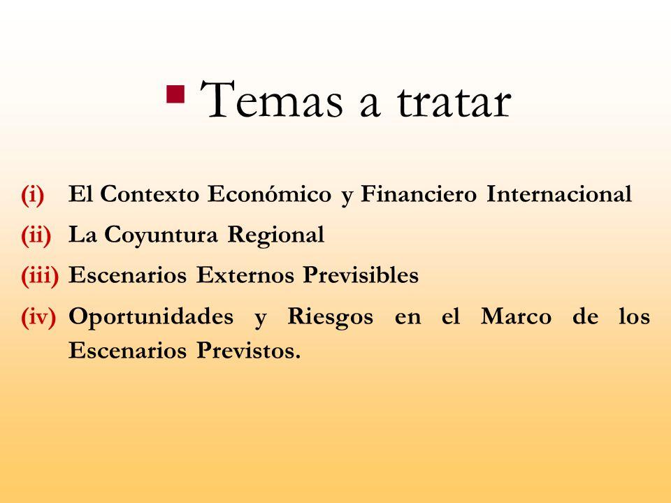 Temas a tratar El Contexto Económico y Financiero Internacional