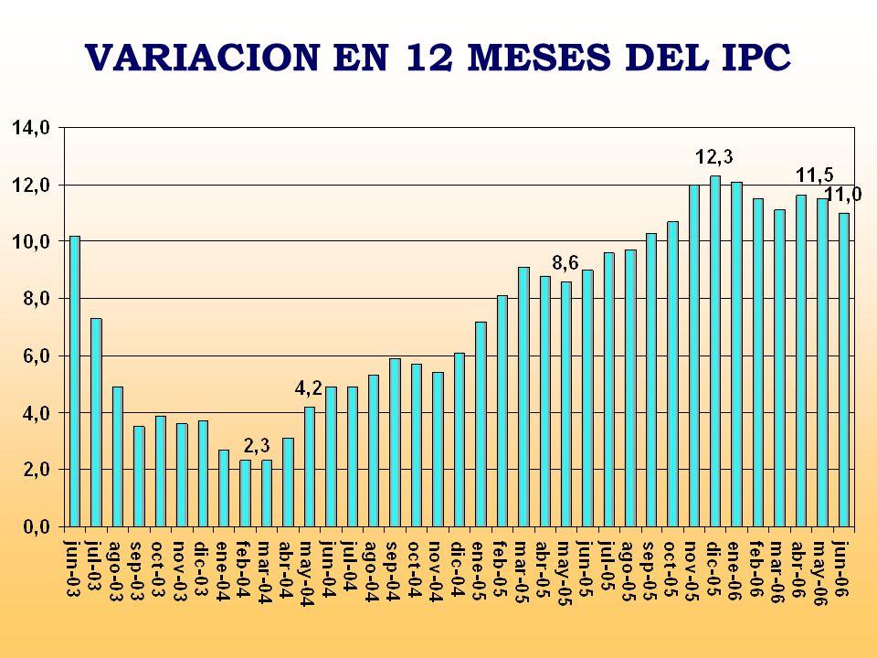 VARIACION EN 12 MESES DEL IPC