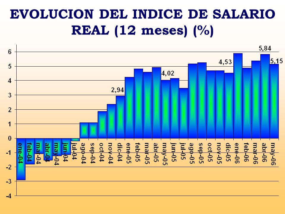 EVOLUCION DEL INDICE DE SALARIO REAL (12 meses) (%)