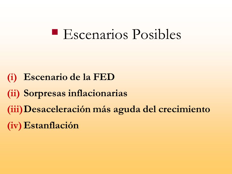 Escenarios Posibles Escenario de la FED Sorpresas inflacionarias