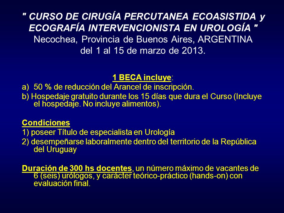 CURSO DE CIRUGÍA PERCUTANEA ECOASISTIDA y ECOGRAFÍA INTERVENCIONISTA EN UROLOGÍA Necochea, Provincia de Buenos Aires, ARGENTINA del 1 al 15 de marzo de 2013.