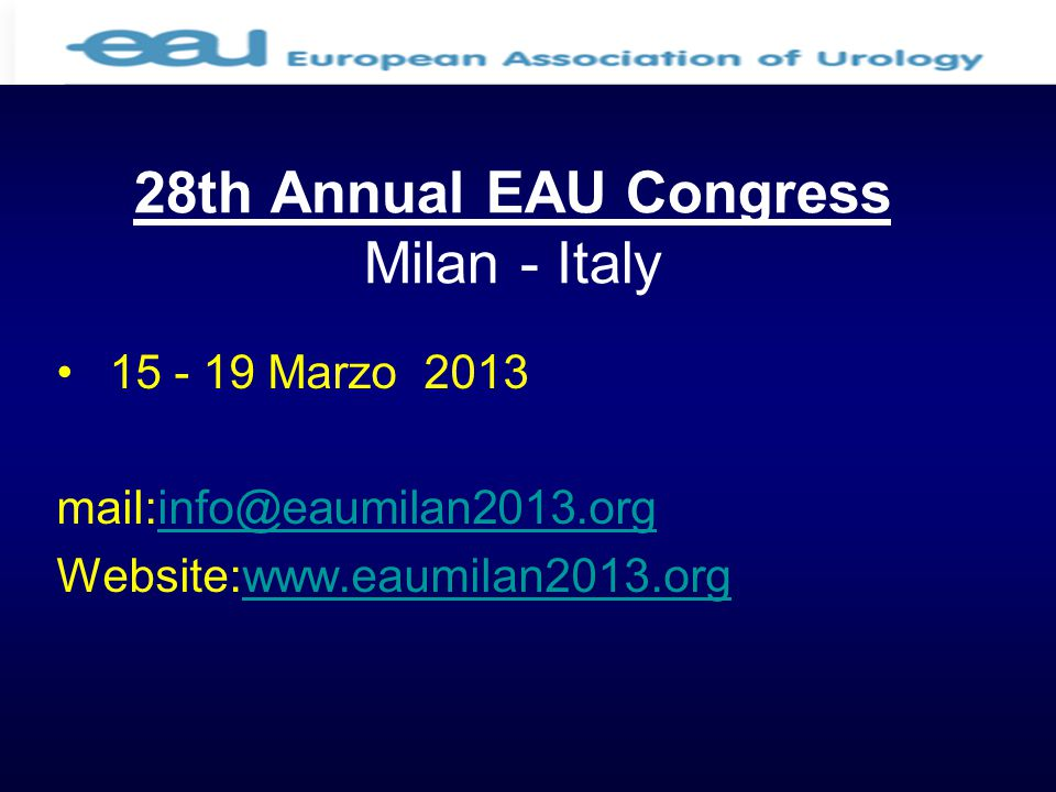 28th Annual EAU Congress Milan - Italy