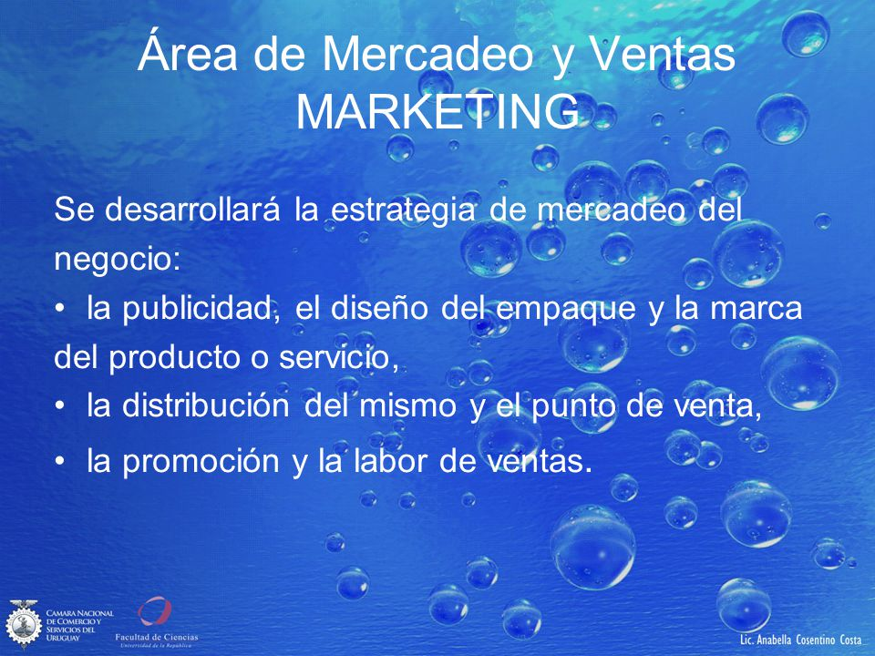 Área de Mercadeo y Ventas MARKETING