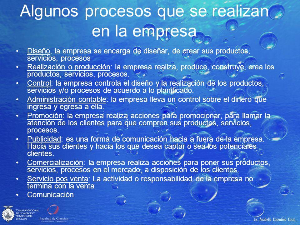 Algunos procesos que se realizan en la empresa