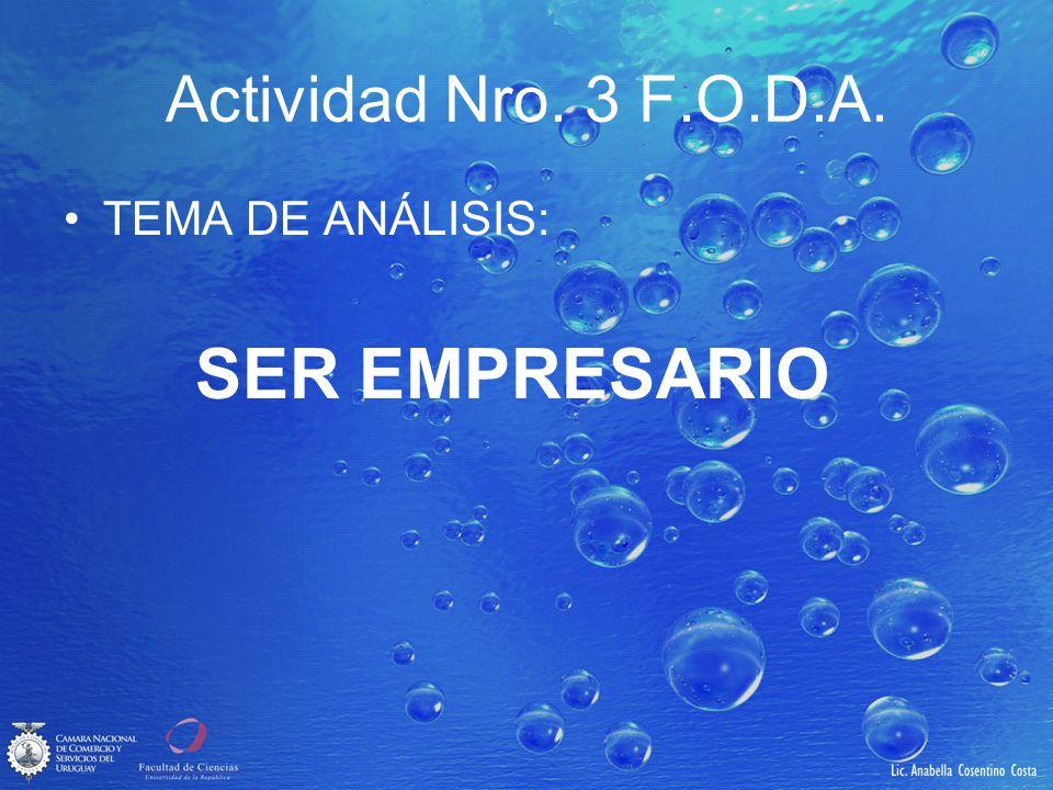 Actividad Nro. 3 F.O.D.A. TEMA DE ANÁLISIS: SER EMPRESARIO