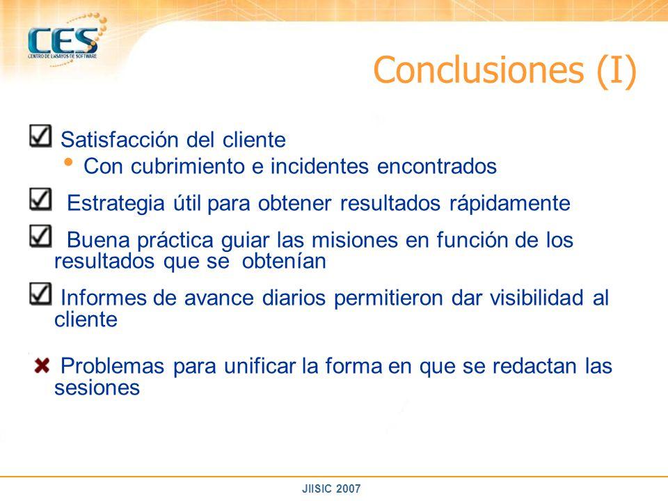 Conclusiones (I) Satisfacción del cliente