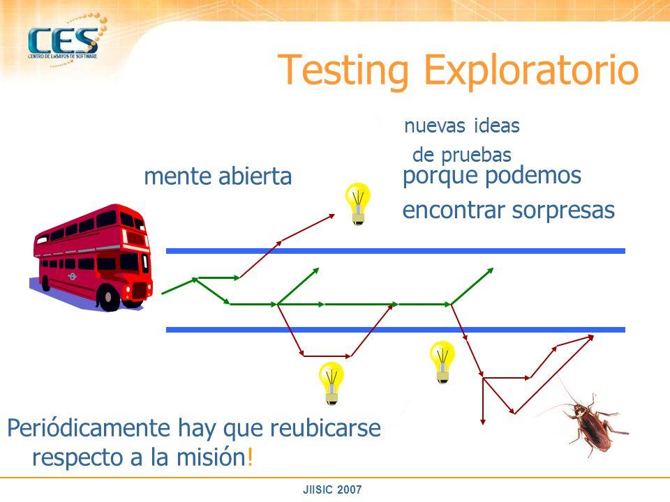 Testing Exploratorio mente abierta porque podemos encontrar sorpresas
