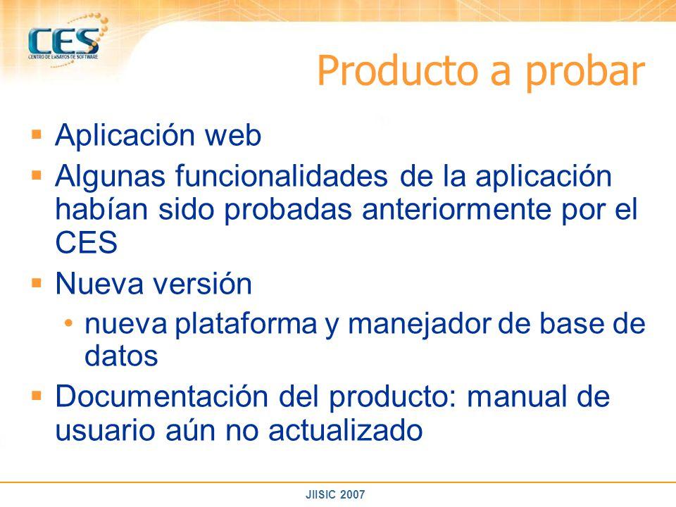 Producto a probar Aplicación web