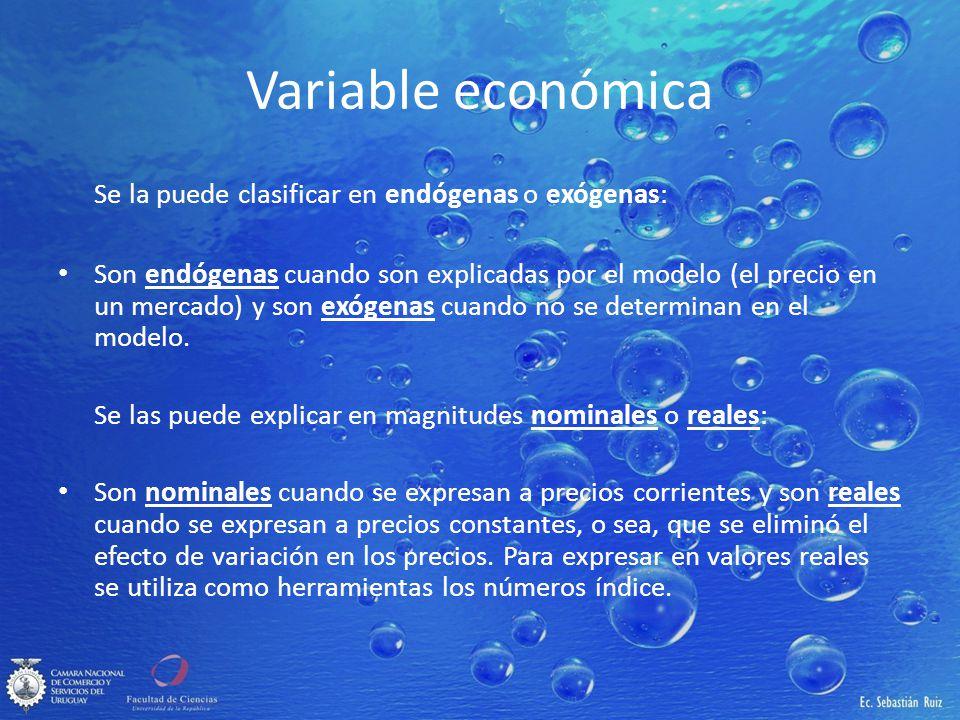Variable económica Se la puede clasificar en endógenas o exógenas: