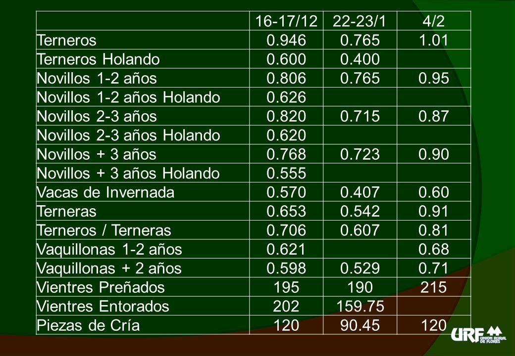 16-17/12 22-23/1. 4/2. Terneros. 0.946. 0.765. 1.01. Terneros Holando. 0.600. 0.400. Novillos 1-2 años.